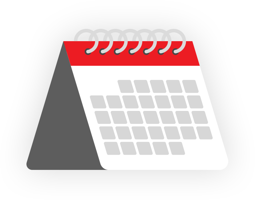 red white and grey calendar icon on transparent background