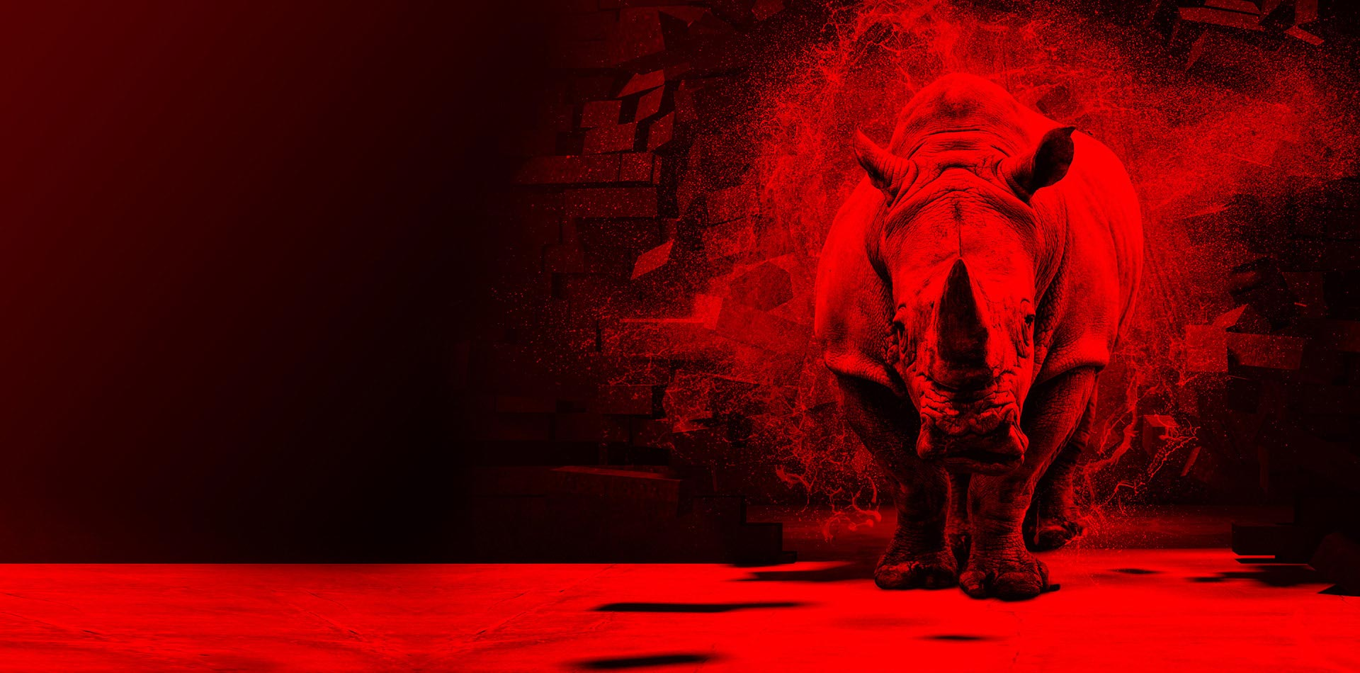 rhinoceros in red light breaking through a brick wall