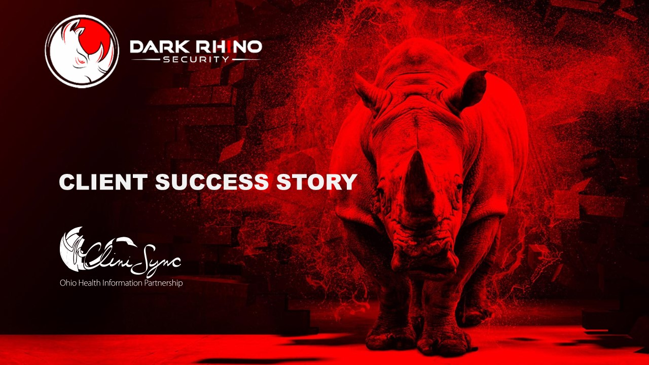 Client success story Case study with CliniSync and Dark Rhino Security on rhinoceros in red light background