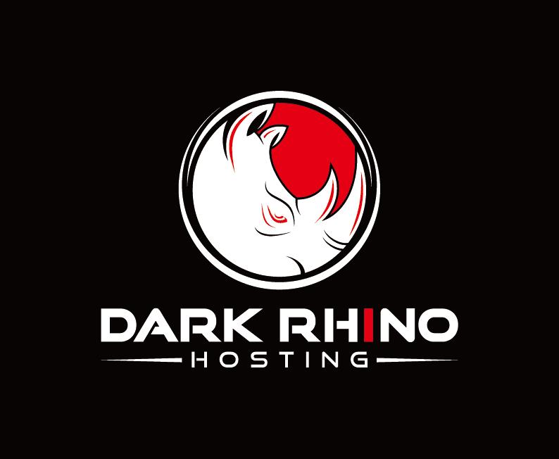 Dark Rhino Hosting white and red logo on black background