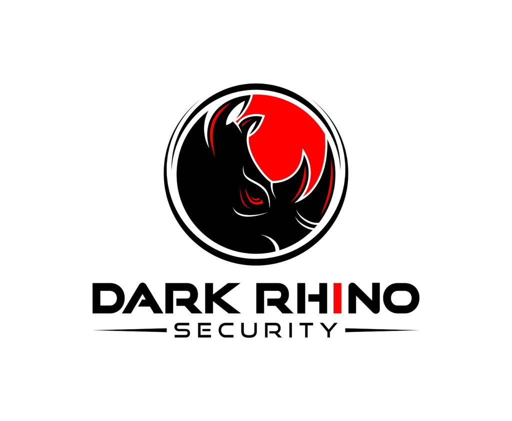Dark Rhino Security black and red logo on white background