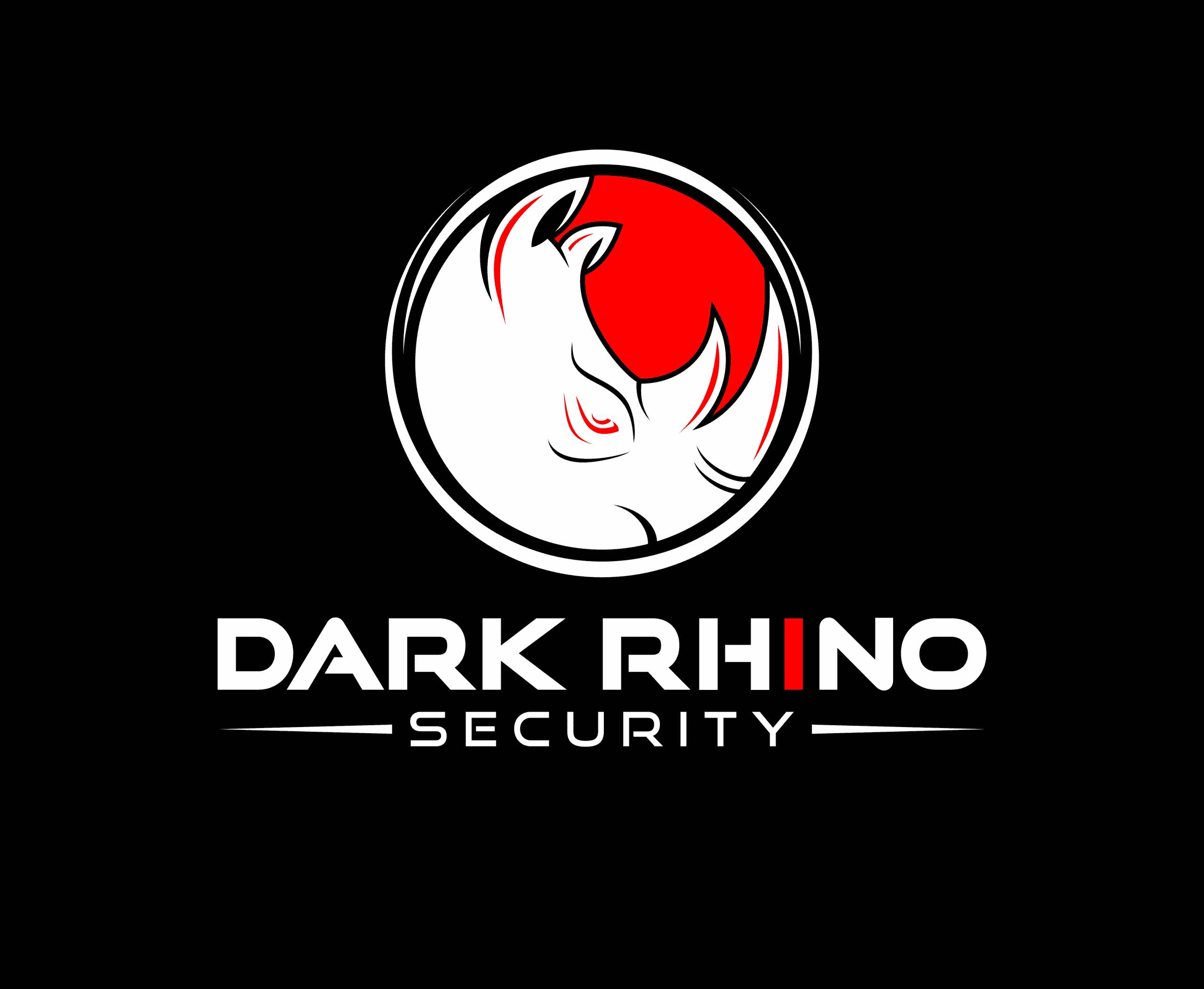 Dark Rhino Security white and red logo on black background