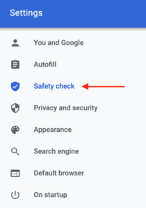 Chrome enable Safety Check