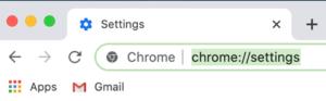 Enter chrome settings through the URL bar